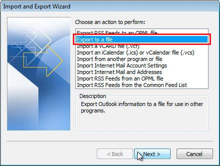 Export Outlook step 2