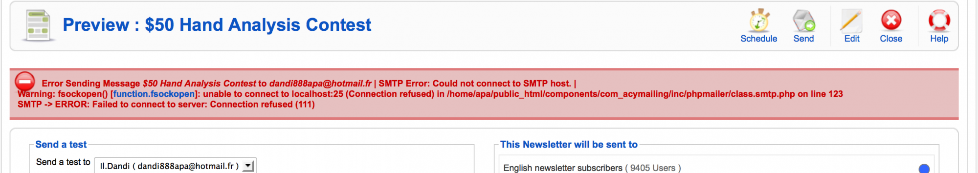 Acyba Forums :: Topic: Sending newsletter - SMTP not working anymore